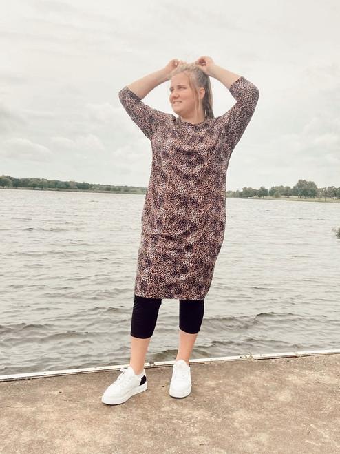 Modest Dolman Style Swim Dress *Animal Print*