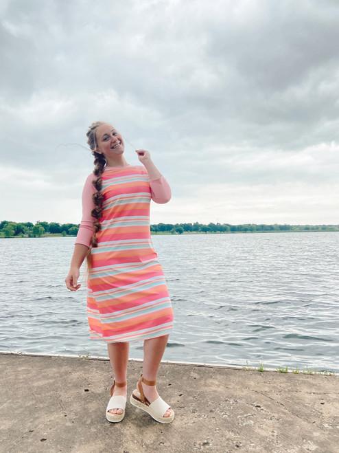 Modest Baseball Style Swim Dress *Pink Multi Stripe*