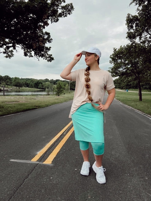 Modest Athletic Skirt With Leggings *Mint* Final Sale