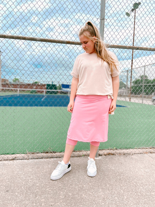 Modest Athletic Skirt With Leggings *Pink* Final Sale