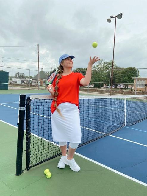 Modest Athletic Skirt With Leggings *White*