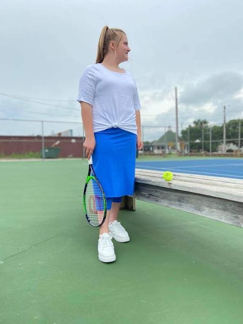 Modest Athletic Skirt With Leggings *Blue*
