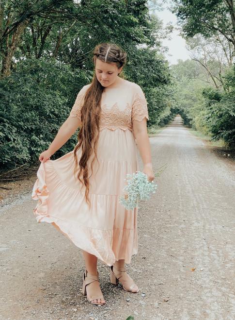 Kate Lace Overlay Dress *Blush*