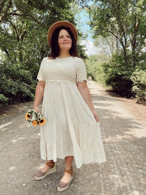 Kate Lace Overlay Dress *Cream*