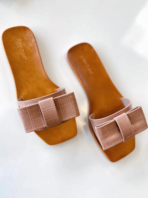 Antique Mauve Bow Shoes Slides