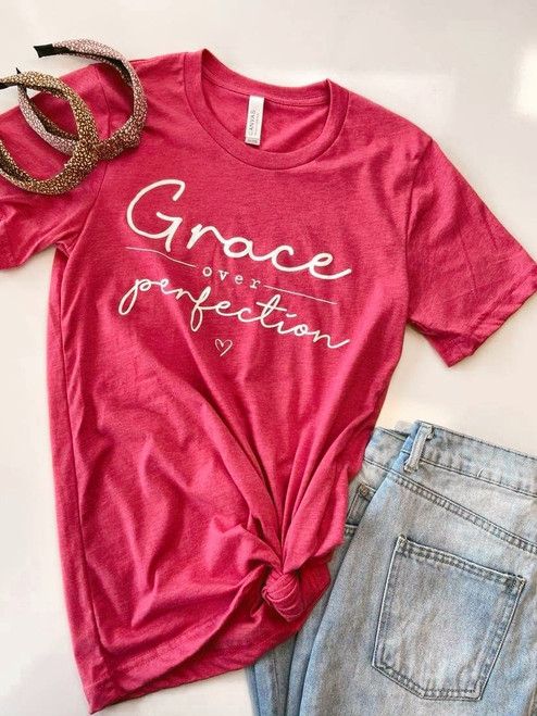 Grace Over Perfection Graphic Tee *Pink*