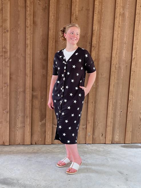 Cute As A Button Dress *Black Star*