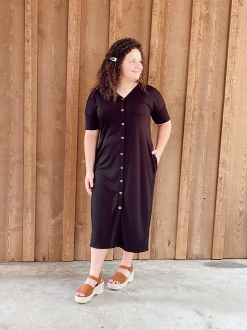 Cute As A Button Dress *Black*