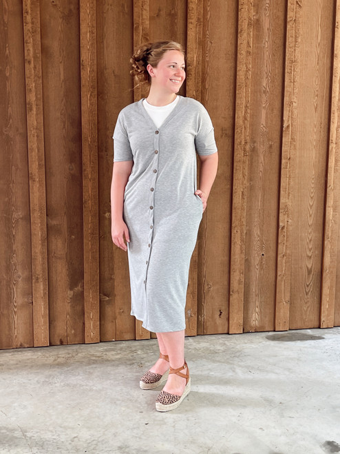 Cute As A Button Dress *Heather Grey*