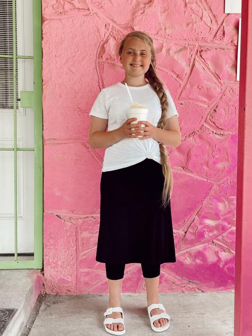 Black Knit Athletic Skirt With Leggings *Kids*