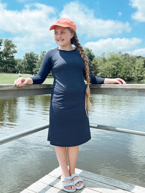 Kids Modest Baseball Style Swim Dress *Navy Dot*