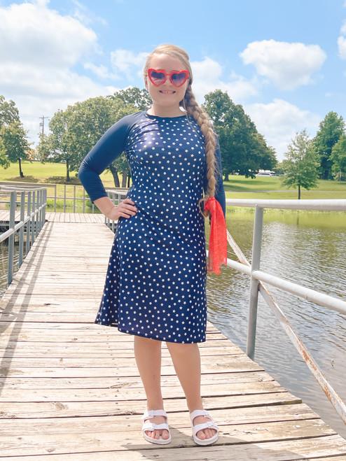 Kids Modest Baseball Style Swim Dress *Navy Star*