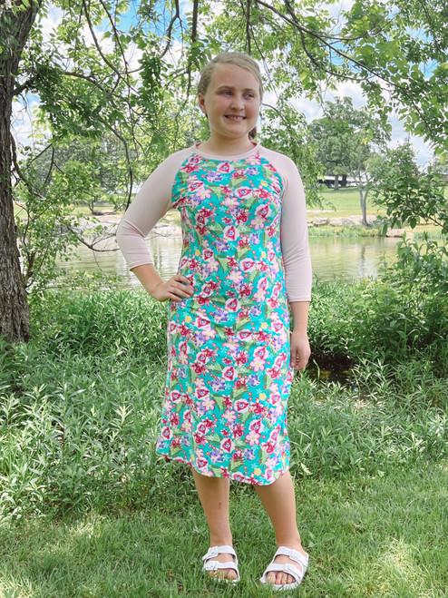 Kids Modest Baseball Style Swim Dress *Pink Floral*