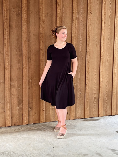 Tee Shirt Swing Dress *Black*