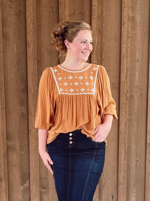 Sara Flowy Embroidered Top *Mustard*