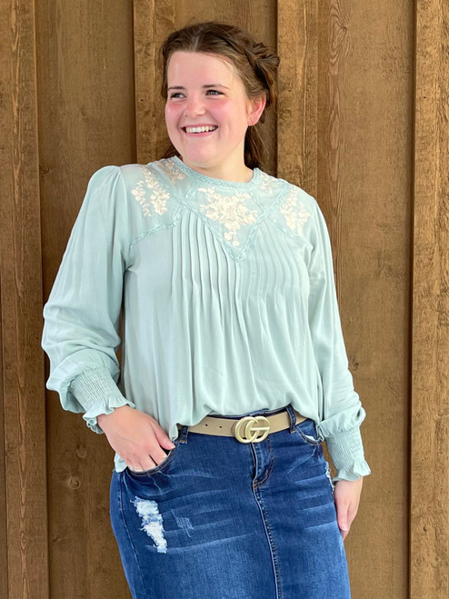 Rachel Flowy Embroidered Top *Mint*