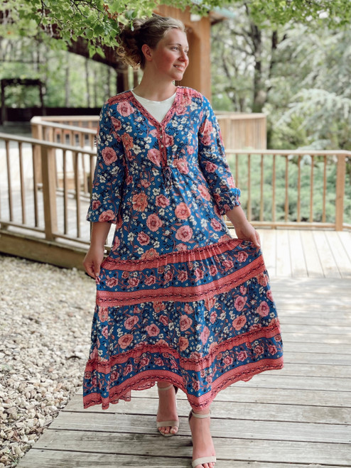 Boho Girl Floral Maxi Dress *Blue*