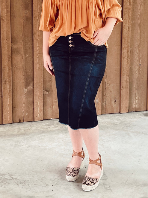 Reanna Denim Skirt *Dark Wash*