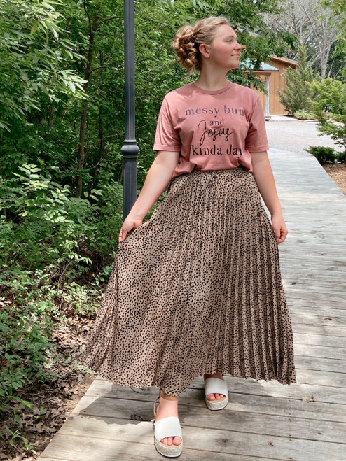 Cheetah Pleated Maxi Skirt