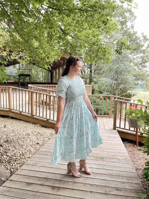 Mint & Paisley Smocked Dress