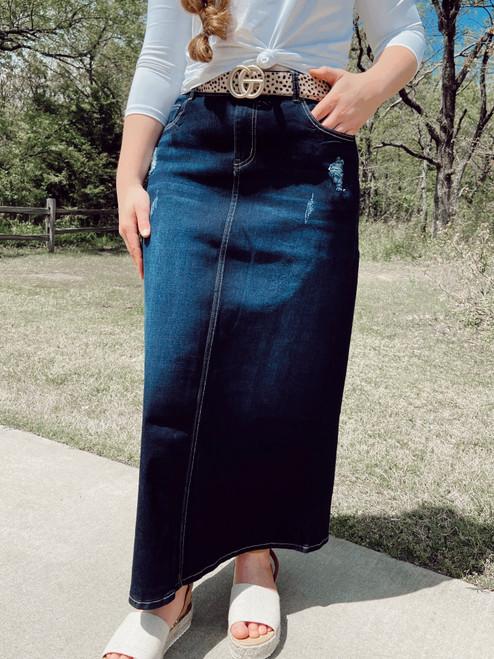 Zoey Distressed Maxi Denim Skirt  *Dark Wash*