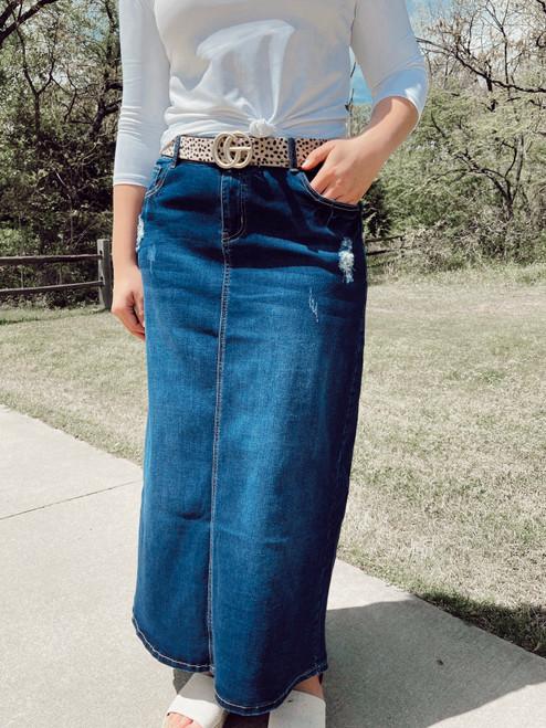 Zoey Distressed Maxi Denim Skirt  *Indigo Wash*