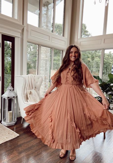 Southern Belle Ruffled Dress *Dusty Pink*