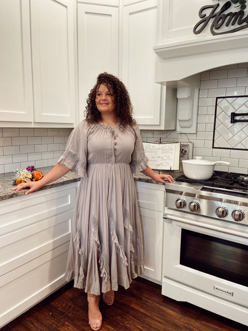 Southern Belle Ruffled Dress *Taupe*
