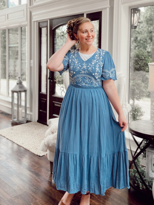 Lily Blue Embroidered Dress