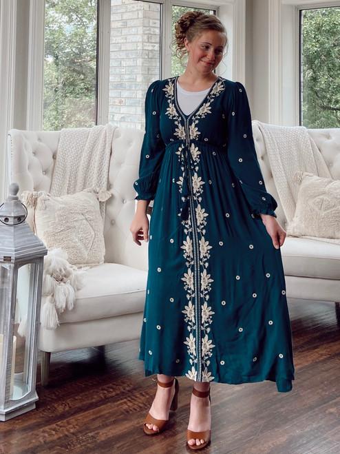 Bohemian Tassel Embroidered Dress *Green*