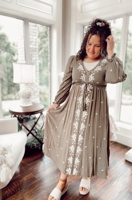 Bohemian Tassel Embroidered Dress *Olive*