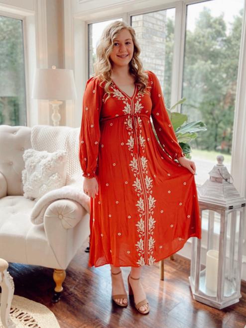 Bohemian Tassel Embroidered Dress *Rust*