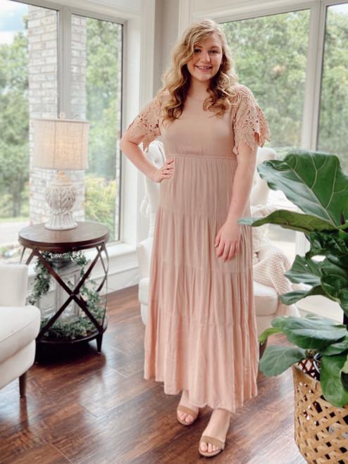 Millie Lace Sleeve Dress *Blush*