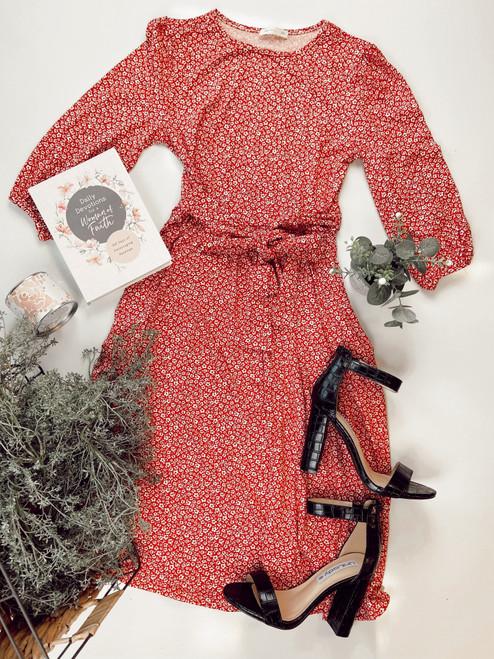 Payton Floral Midi Dress *Brick Red*