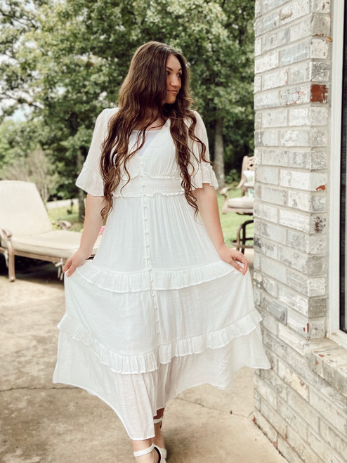 Summer Dreams White Ruffled Dress