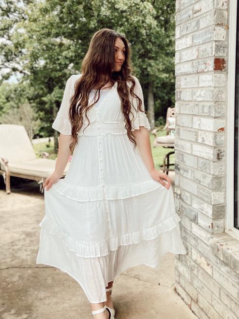 Summer Dreams White Ruffled Dress *FINAL SALE*