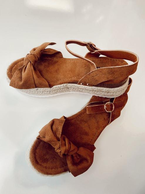 Bow Sandals Shoes *Cognac* Final Sale
