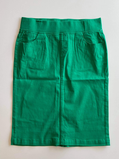 Colored Denim Elastic Waist Skirt *Kelly Green*