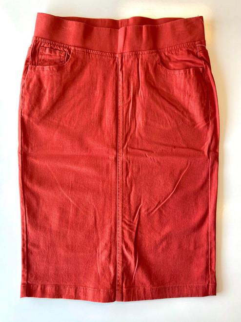 Colored Denim Elastic Waist Skirt *Terracotta*