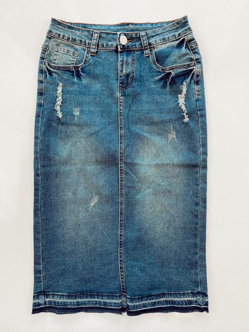 Kendra Distressed Denim Skirt *Vintage Wash*