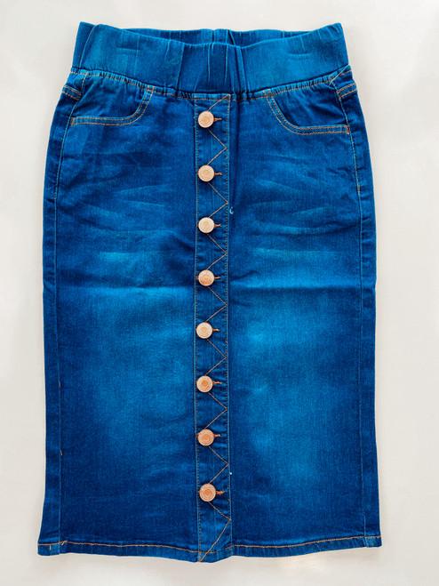 Ella Button Denim Skirt *Indigo*