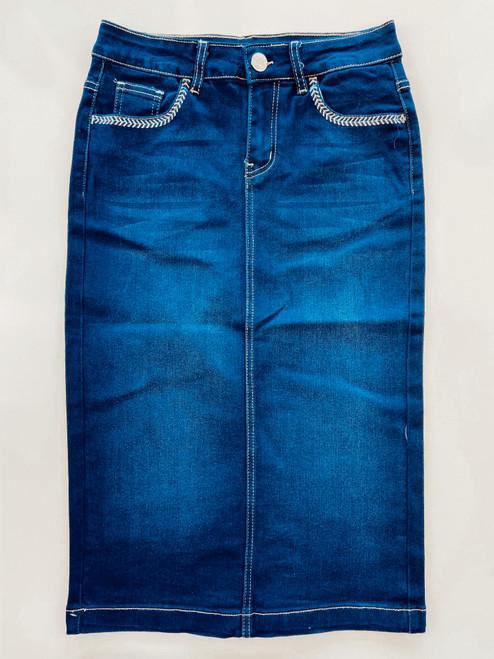 Sierra Embroidered Denim Skirt