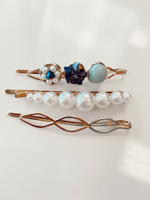 Beaded Gold Hair Clips Blue (Set of 3)