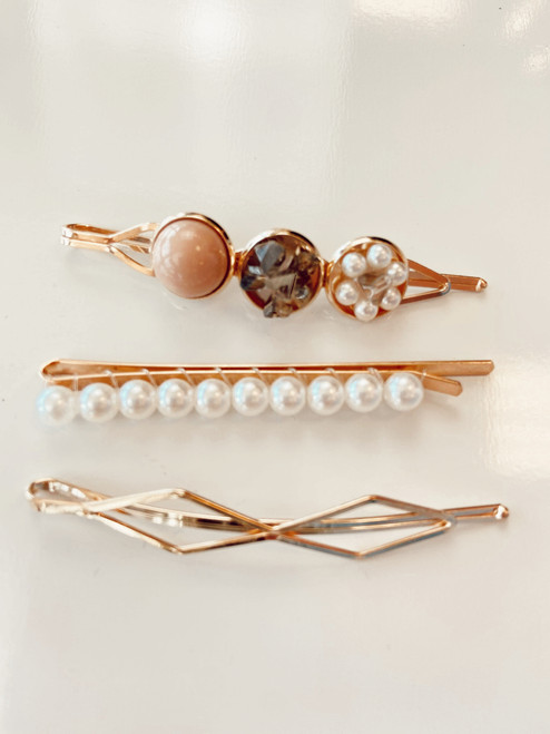 Beaded Gold Hair Clips Blush (Set of 3)