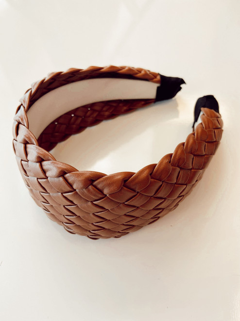 Woven Faux Leather Headband
