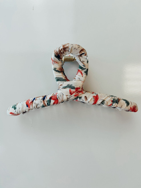 Twisted Fabric Hair Claw Clip *Beige Floral*