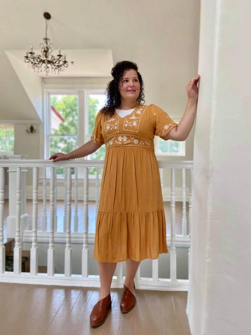 Callie Mustard Embroidered Dress