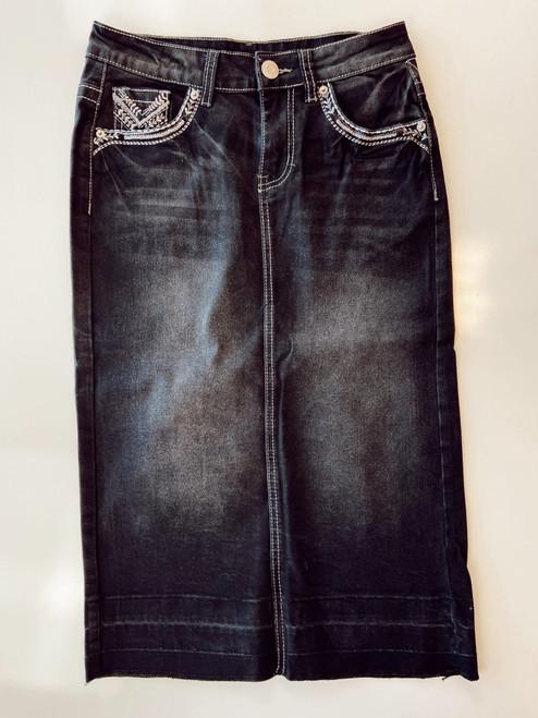 Lydia Embroidered Denim Skirt *Black*