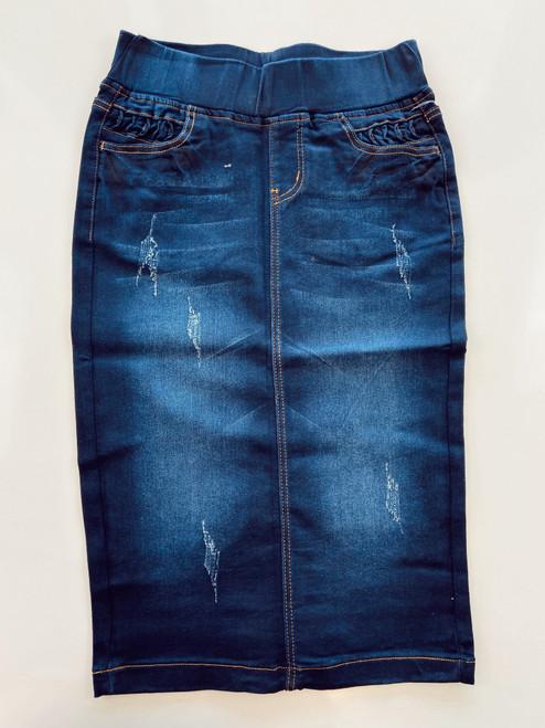 Kenzlee Elastic Waist Denim Skirt  *Dark Wash*