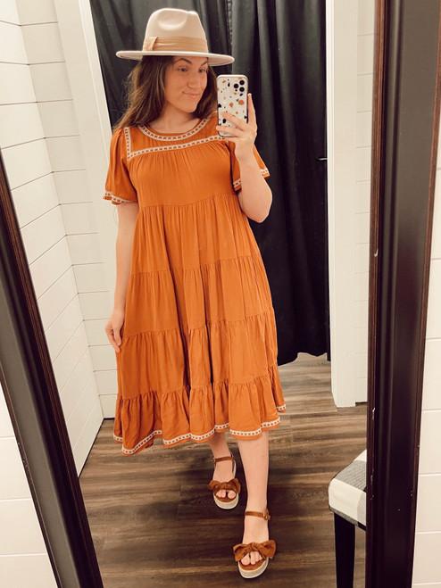 Harlow Tiered Twirl Dress *Pumpkin Spice*